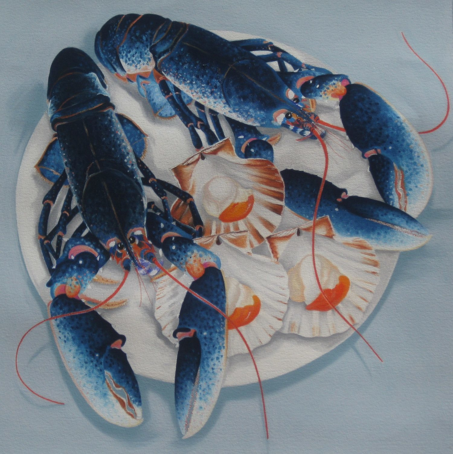 cornish blue lobsters with scallops. Pastle on blockingford watercolour paper. by danka napiorkowska. showing at the rock summer exhibition, rock institute, cornwall