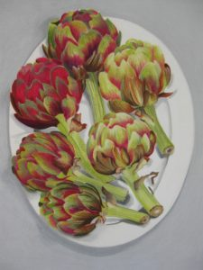 cornish artichokes, pastle on blockingford water colour paper, by danka napiorkowska. Showing at the rock summer exhibition, rock institue, cornwall.