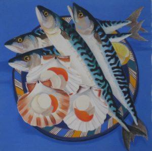 Cornish mackerel and scallops. pastle on blockingford. by danka napiorkowska. showing at the Rock summer exhibition, rock institute, cornwall