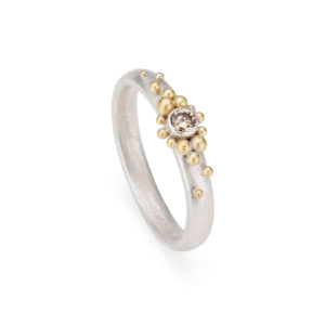 alternative silver and 18ct gold engagement ring with champagne diamond made by chloe michell jewellery